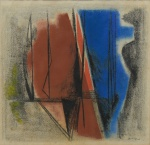"""ABELARDO ZALUAR (1924-1987). """"Sem Título"""", técnica mista, 42 X 44. Assinado e datado (1957) no c.i.d. Reproduzido com foto no catálogo."""