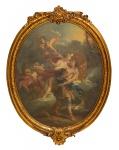 """FRANÇOIS LE MOYNE (FRANÇA, 1688-1737). """"Scène Romantique Avec Adonis et Aurore"""", óleo s/ tela, 95 X 77 (oval). Apresenta algumas inscrições na parte interna da moldura. Reproduzido com foto no catálogo."""