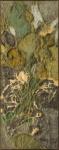 """FRANS KRAJCBERG (1921-2017). """"Sem Título"""", óleo e pigmentos naturais colado s/ tela, 128 x 50. Assinado e datado (1963) no c.i.e. e no verso. Este quadro pertenceu a famosa coleção do Embaixador Hugo Gouthier quando o mesmo era embaixador do Brasil na Itália. Etiqueta de identificação no verso. Reproduzido com foto no catálogo."""