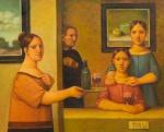 """REYNALDO FONSECA (1925-2019). """"Interior com Ancestrais Femininos"""", óleo s/ tela, 80 x 100. Assinado e datado (2004) no c.i.d. e no verso. Reproduzido com foto no catálogo."""
