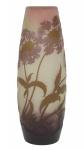 EMILLE GALLÉ (FRANÇA, 1900). Esplêndido vaso art nouveau em pasta de vidro acidado decorado com ramos, folhas e flores nas cores lilás, verde, branco e rosa. Alt.: 32,5 cm. Assinado. Reproduzido com foto no catálogo. (Em função da fragilidade, este lote só poderá ser enviado para fora do estado através de transportadora especializada).