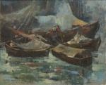 """AYRES AUGUSTO (BRASIL, 1900). """"Barcos na Praça 15 - RJ"""", óleo s/ tela, 81 X 100. Assinado e datado (1971) no c.i.e. Este quadro participou do """"Salão Nacional de Belas Artes"""" em 1971."""