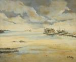 """SYLVIO PINTO (1918-1997). """"Marinha com Casebre e Traineira Ancorada"""", óleo s/ tela, 60 X 73. Assinado no c.i.d."""