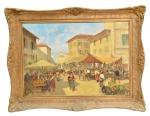 """DARIO MECATTI (1909-1977). """"Feira Napolitana - Itália"""", óleo s/ tela, 70 X 100. Assinado no c.i.e (década de 40)."""