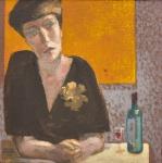 """JUAREZ MACHADO (1941). """"A Espera na Mesa de um Bar"""", óleo s/ tela, 30 X 30. Assinado e datado (1984) no c.i.e. no verso."""