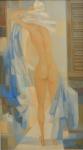 """BIANCO, ENRICO (1918-2013). """"Nú"""", óleo s/ eucatex, 70 X 40. Assinado e datado (1986) no c.i.d. e no verso. No verso cachet da famosa """"Galeria Contorno""""."""