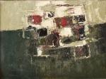 """INIMÁ DE PAULA (1918-1999). """"Abstrato"""", óleo s/ madeira, 28 x 38. Assinado no c.i.e. (Década de 50)."""